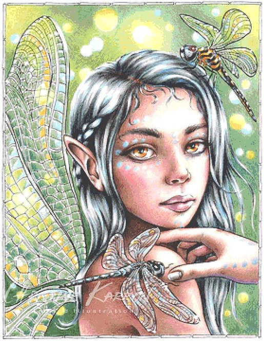 Dragonfly Fairy Cross Stitch Chart - Kit