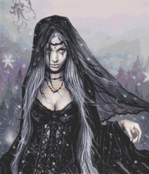 Winter Gothic Crop Cross Stitch Chart -  Kit - Victoria Frances - Goth - Fantasy