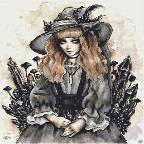 Black Crystal Witch Cross Stitch Chart - Kit  - Goth - Enys Guerrero