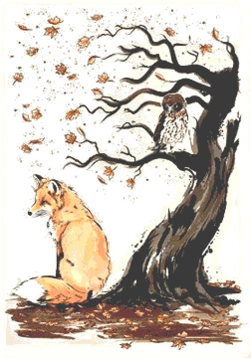 Fox and Owl Cross Stitch Kit - Chart