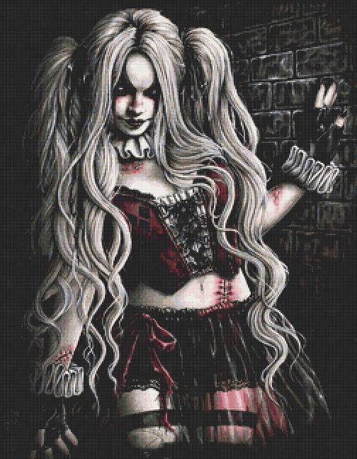 Harley Quinn Large Cross Stitch Chart PDF