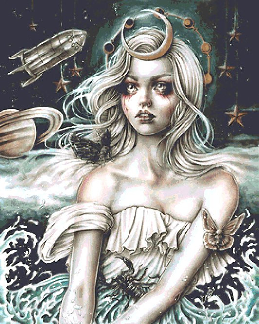 The Moon Cross Stitch Chart - Kit  - Goth - Enys Guerrero