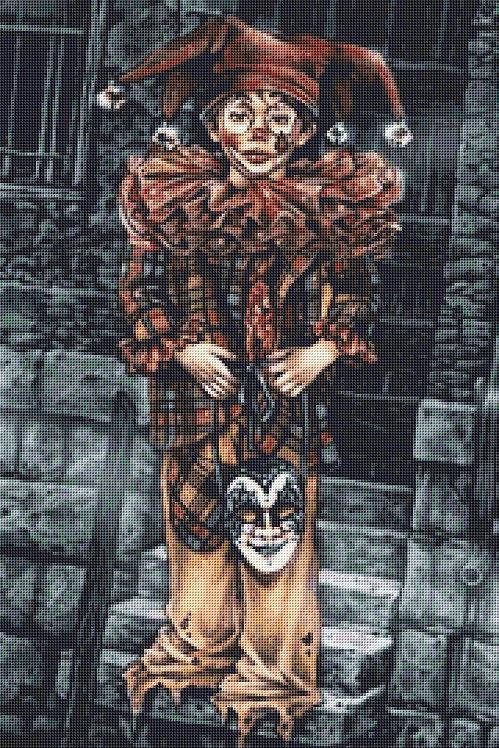 Boy Clown Cross Stitch Chart - Kit  - Goth - Fantasy