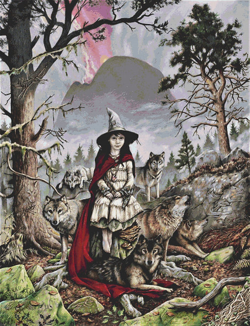 Relics Cross Stitch Chart -  Kit - Fantasy - Witch - Wolves