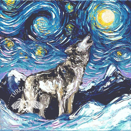 Lupine Cross Stitch Chart - Kit - Wolf