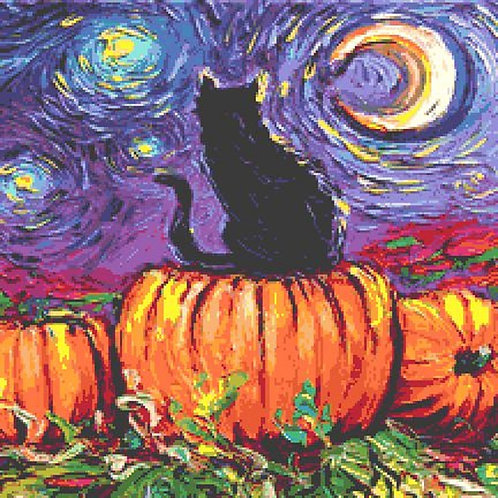 Black Cat Cross Stitch Chart - Kit - Halloween