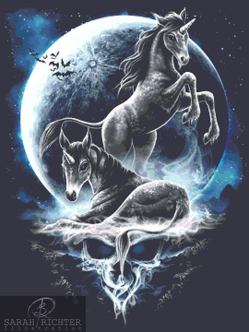 Baby Unicorns Cross Stitch - Chart - Kit - Fantasy - Skull