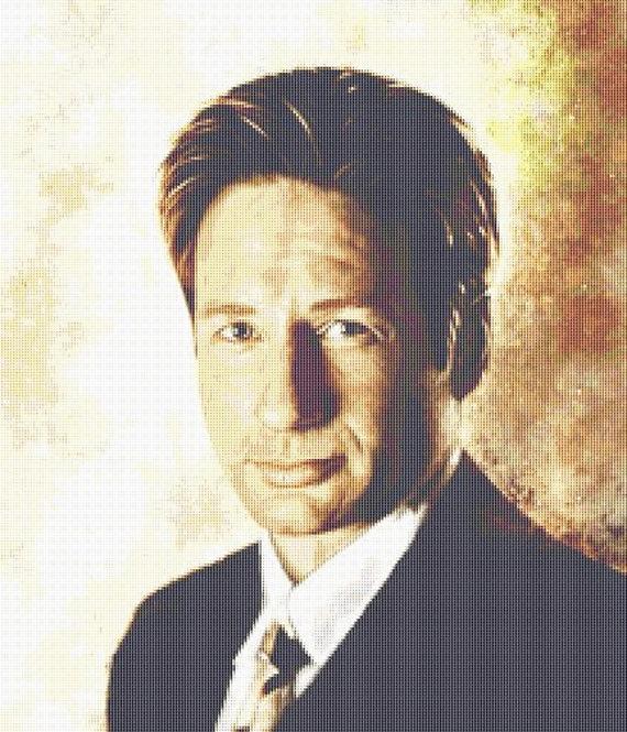 Fox Mulder Cross Stitch - The X Files - UFO -Alien -Andrey