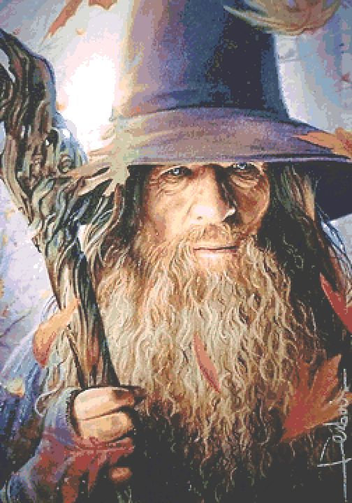 Gandalf Cross Stitch  Chart - Kit - Lord of the Rings - Wizard - Desbois