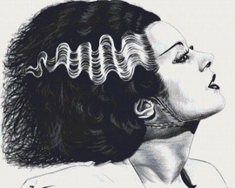 Bride of Frankenstein Cross Stitch Chart - Kit - Horror - Fantasy