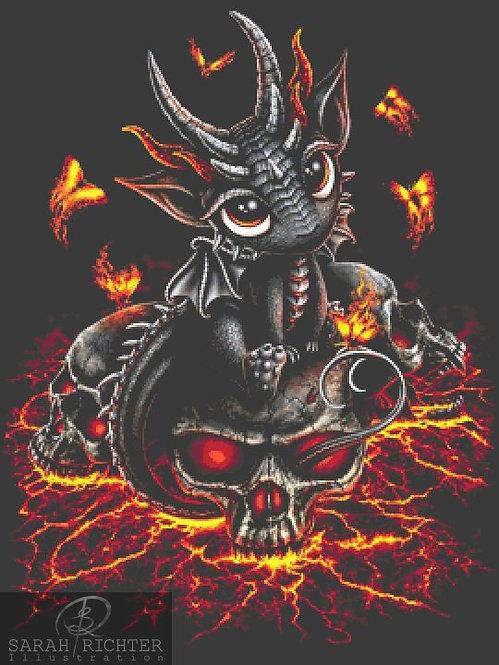 Baby Dragon Cross Stitch - Chart - Kit - Fantasy - Skull