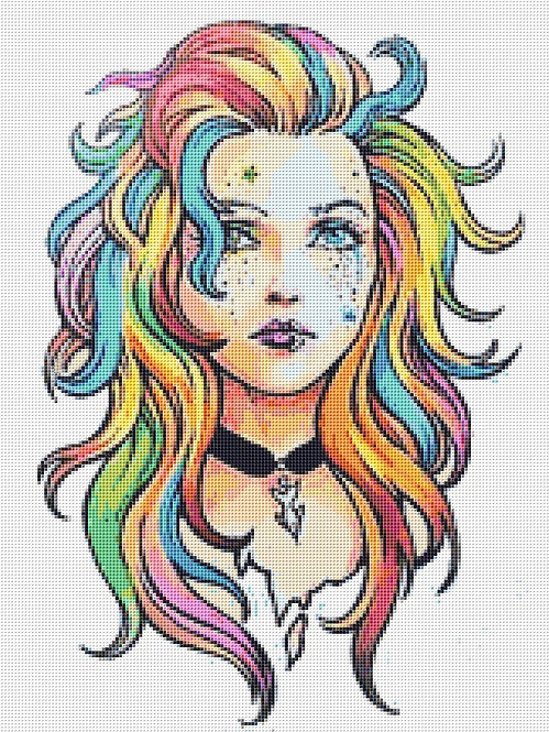 Rainbow Girl Cross Stitch - Punk - Gothic - Fantasy - Candra