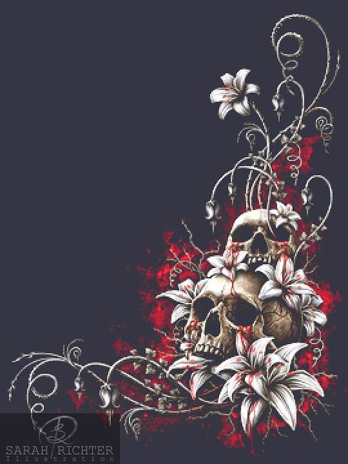 Blood Tears Cross Stitch - Chart - Kit - Fantasy - Skull