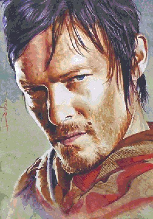 Daryl Cross Stitch  Chart - Kit - Walking Dead - Desbois