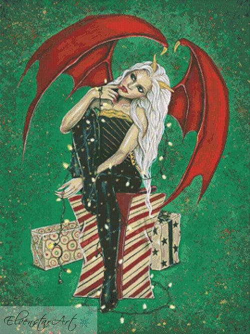 Christmas Naughty or Nice  Cross Stitch Chart -  Kit - Goth - Fantasy - Sinz