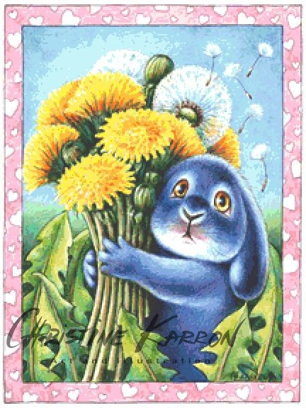 Dandelion Benny Blue Cross Stitch  Chart - Kit - Rabbit