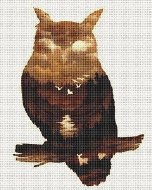 Brown Owl Cross Stitch Kit - Chart