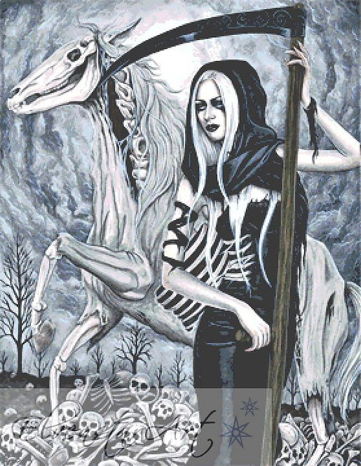 Death Cross Stitch Chart -  Kit - Goth - Fantasy - Sinz