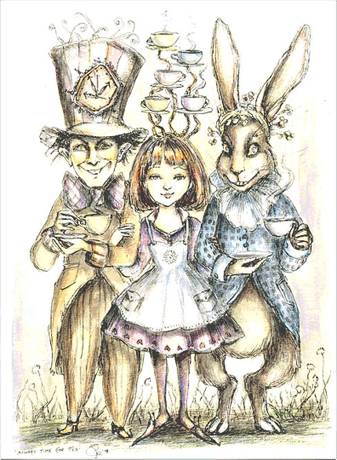 Always Time For Tea Cross Stitch Chart - Kit  - Alice in Wonderland - Polly Fae