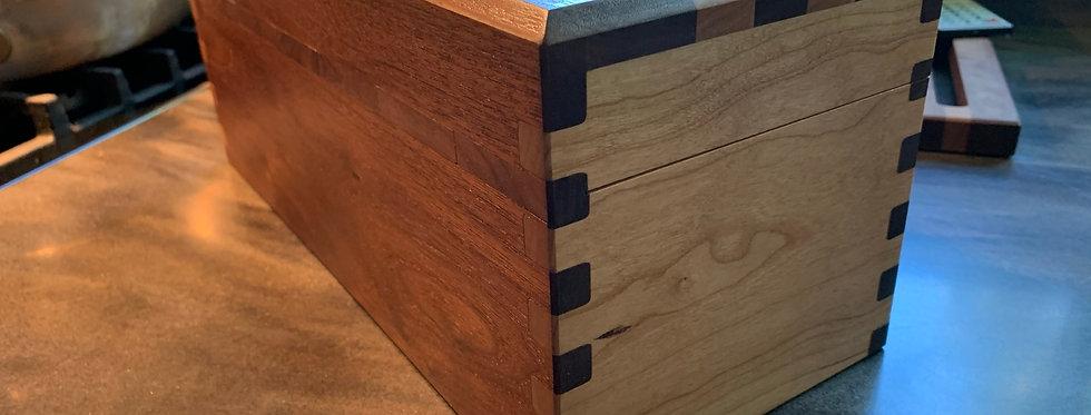 Custom Walnut Maple Wood Chest / Box Corner View