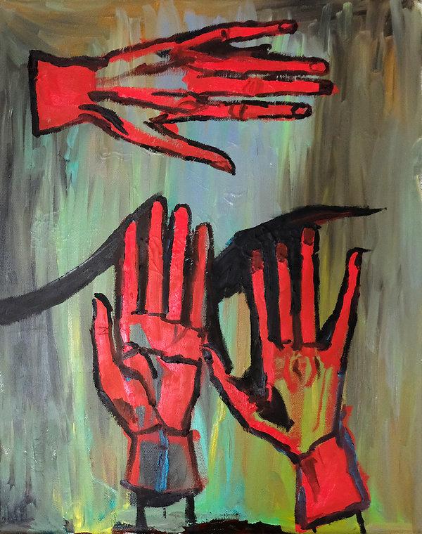 my red elegant artist hands