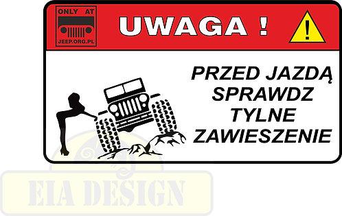 Jeep - zabawne naklejki ostrzegawcze nr3