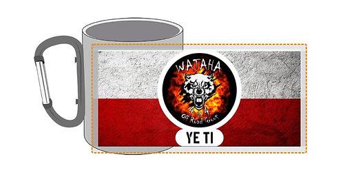 """kubek """" Wataha 4x4"""" metal maly czerwony karabinczyk"""