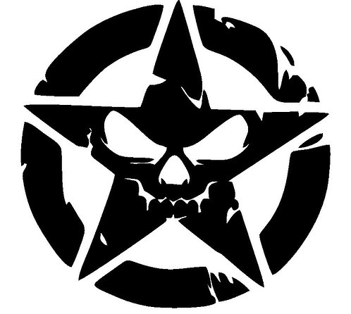 Jeep  PUNISHER STAR No.2 skull Distressed hood side vinyl decal sticker