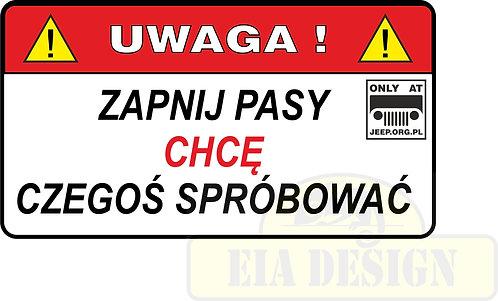 Jeep - zabawne naklejki ostrzegawcze nr2