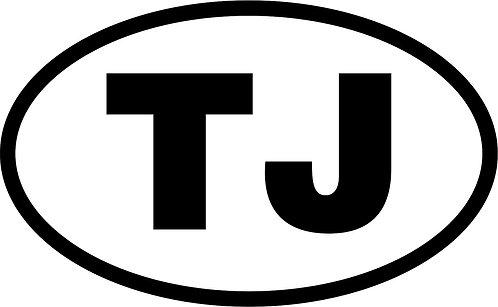 "jeep ""tj"" oval sticker  size:130mm x 80mm"