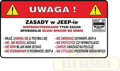 Jeep - zabawne naklejki ostrzegawcze nr1