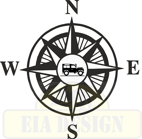 Compass No.6  Land Rover Defender  hood vinyl decal