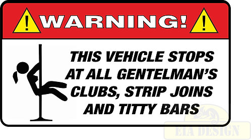 JEEP , OFF ROAD FUNNY WARNING STICKERS -WARNING THIS VEHICLE STOPS