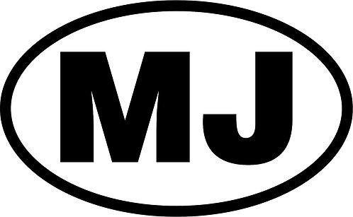 "Jeep ""mj"" oval sticker  size:130mm x 80mm"