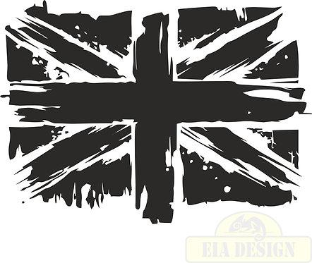 UK Flag Distressed  hood side vinyl decal sticker for car