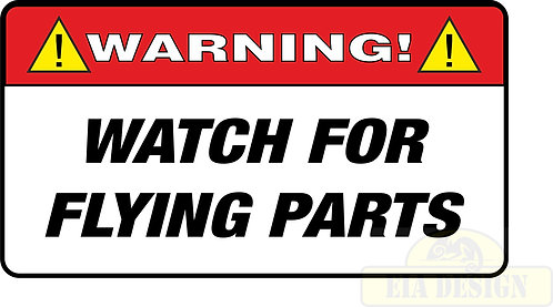 JEEP , OFF ROAD FUNNY WARNING STICKERS -WARNING WATCH FOR FLYING PARTS