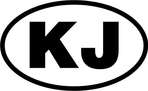 """jeep """"kj"""" oval sticker  size:130mm x 80mm"""
