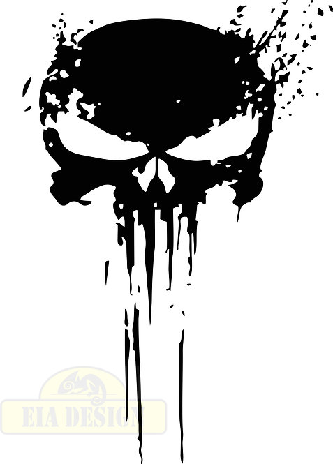 PUNISHER  skull Distressed No.2 hood side vinyl decal sticker for car