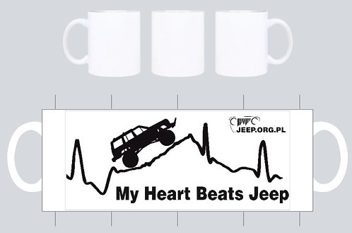 "kubek jeep.org.pl bialy ""my heart beats jeep"""