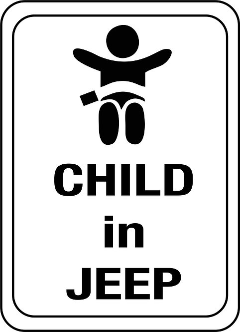 "Jeep "" child in jeep"" car sticker"