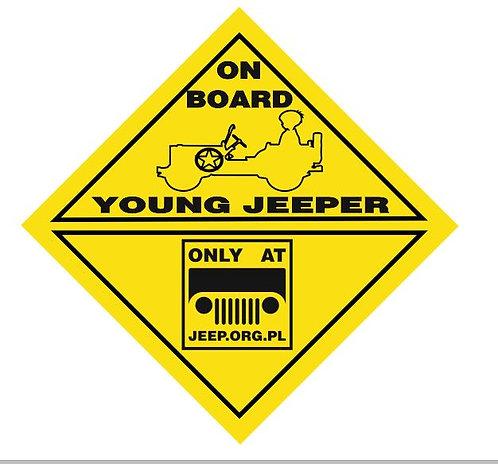""""""" young jeeper on board"""" forumowa plakietka ostrzegawcza"""