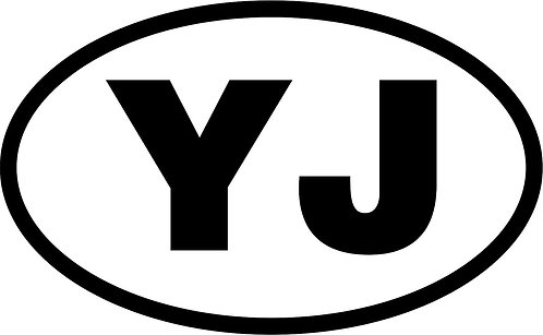 "jeep ""yj"" oval sticker  size:130mm x 80mm"