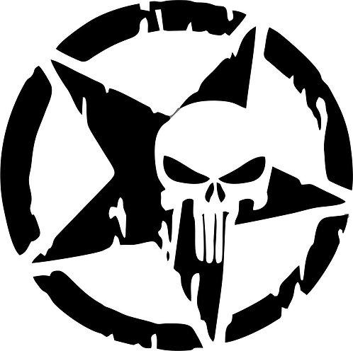 Jeep Star Punisher skull Distressed hood vinyl decal