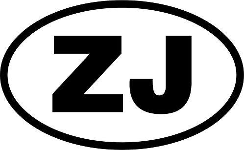 "jeep ""zj"" oval sticker - 130mm x 80mm"