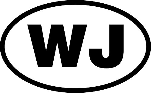 "jeep ""wj"" oval sticker  size:130mm x 80mm"