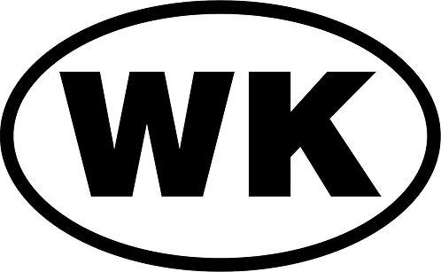 "jeep ""wk"" oval sticker  size:130mm x 80mm"