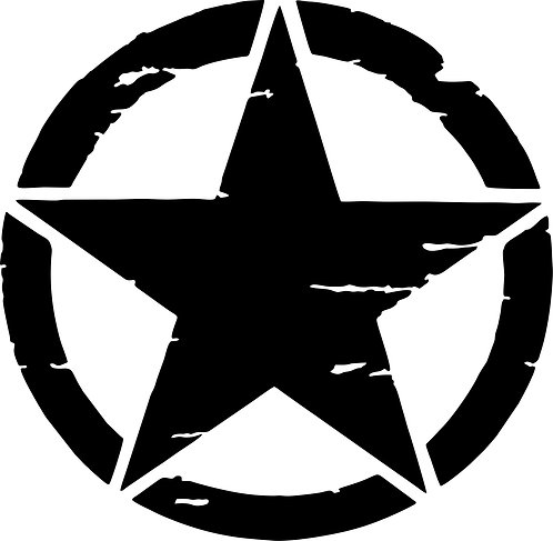 Jeep US Army Military Distressed Star Sticker
