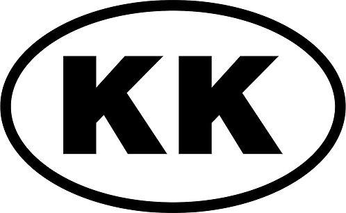 "jeep ""kk"" oval sticker  size:130mm x 80mm"