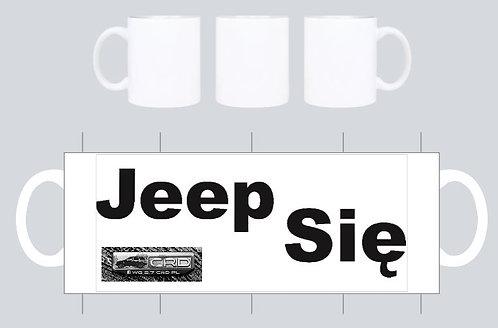 """kubek  bialy wz  """"jeep sie"""" grupa crd"""