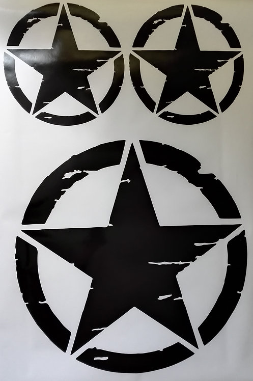 Jeep US Army Military Distressed Star Sticker -3 pieces set -  option 1